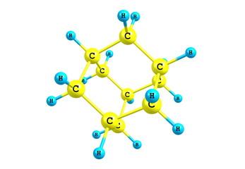 Adamantane molecular model isolated on white