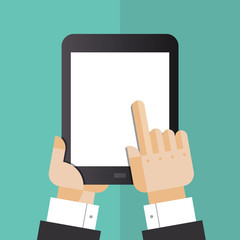 Digital tablet with hands flat illustration