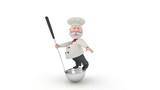 The 3D cook with a ladle.