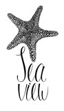 Sea view card with starfish