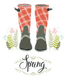 Rain boots and spring forest grass, design card