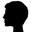 SIlhouette of a head isolated on white background