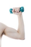 Green dumbbell in male hand