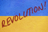 Ukraine flag painted on old concrete wall with REVOLUTION inscri
