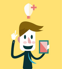 Businessman get Ideas. Business ideas. Vector