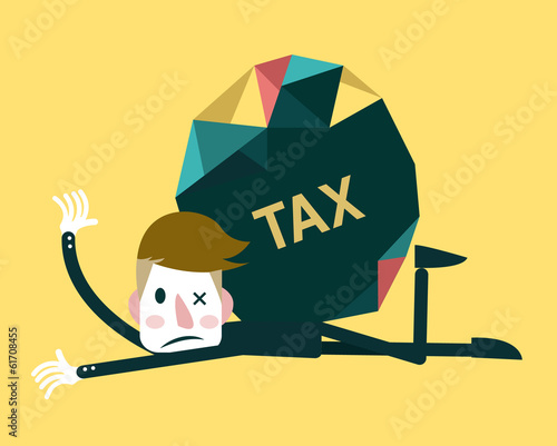 Businessman and TAX burden. Business concept. Vector