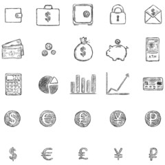 Vector Set Of Sketch Finance Icons