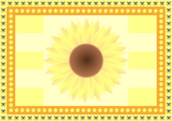 Hintergrund Sonnenblume mit Schmetterlingen und kleinen Blumen