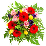 bouquet of spring flowers isolated on white