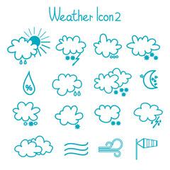 Hand drawn weather icon set.