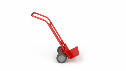 Empty hand truck, rotates on white background