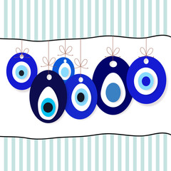 Evil eyes bead background vector