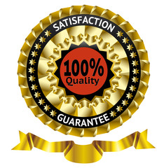 Satisfaction guarantee vector label with ribbon. eps 10
