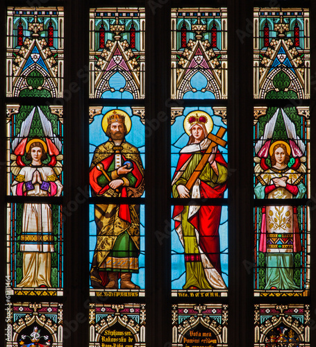Bratislava - St. Stephen and st. Helen - window of cathedral