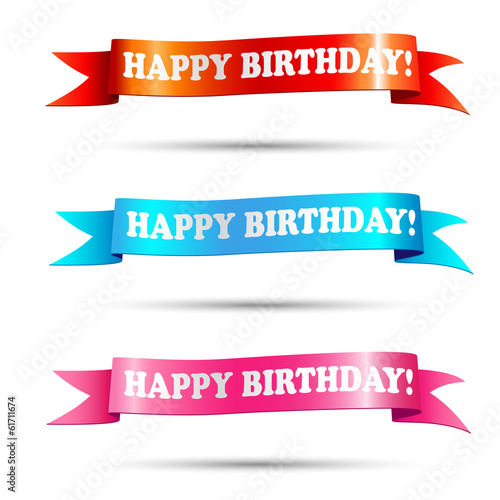 Banners with text happy birthday - illustration