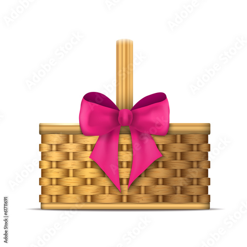 wooden basket with pink ribbon - illustration