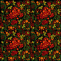 Hohloma russian national pattern