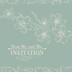 Vintage decorative invitation card with sakura