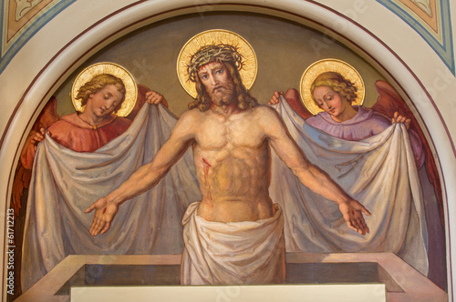 Leinwanddruck Bild Vienna - fresco of Resurrected Christ in Carmelites church