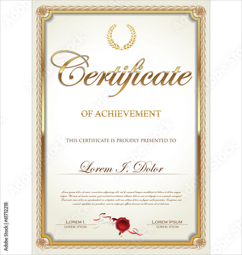 Golden Certificate template