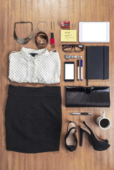 Outfit of business woman in office.