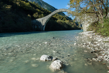 The historical Plaka bridge in Epirus, Greece