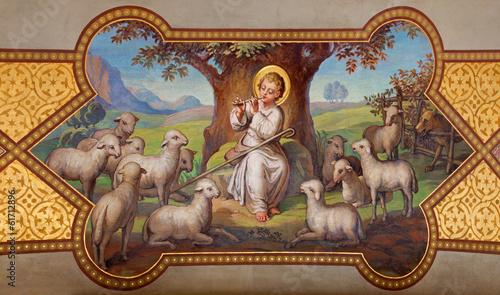 Vienna - little Jesus as good shepherd in Carmelites churc - 61712896