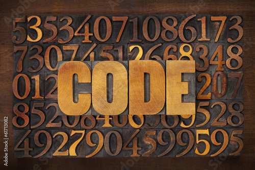 code word on number background