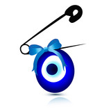 Evil eye bead with safety pin vector