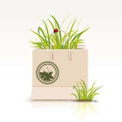 Vector illustration of  shopping paper bag with green symbol.