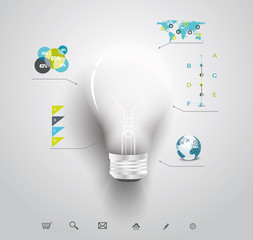 Creative light bulb with application icons.