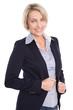 Ältere Frau isoliert in Bluse blau und Blaser: Bürokleidung