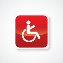 Icon of handicap or wheelchair person on Red Button. Eps.-10.