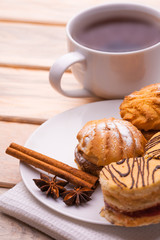 morning breakfast. tea and fresh pastries