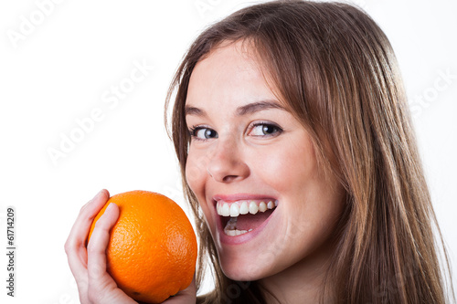 Woman portrait with orange