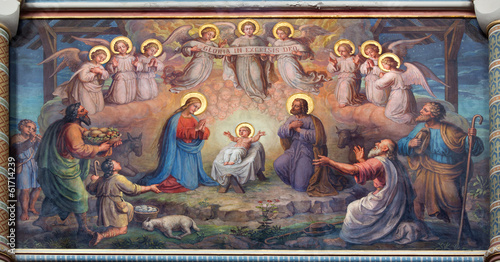 Fotobehang Wenen Vienna - fresco of Nativity scene in Carmelites church