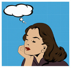Illustration of a thinking woman in a pop art/comic style