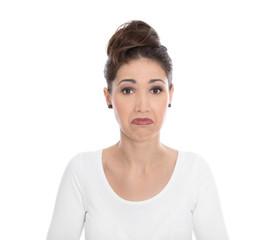 Gesicht: enttäuschte junge Frau mit verzweifeltem Blick
