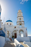 Beautiful white church in Pyrgos, Santorini, Greece