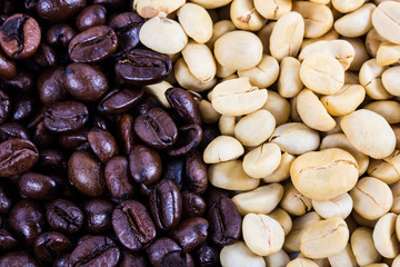 roast and not roast coffee beans
