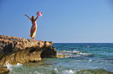 Girl on the rock. Cyprus
