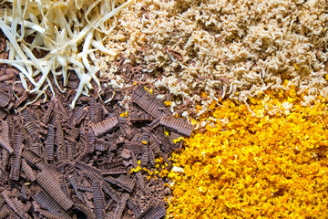Grated chocolate and other sweets