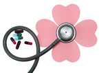 Medical stethoscope flower or phonendoscope isolated on white.