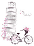 Pisa leaning tower and bicycle. Romantic postcard from Italy. - 61716827