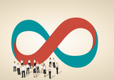 Infinity symbol with business people on work process