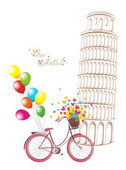Pisa leaning tower and bicycle. Romantic postcard from Italy.