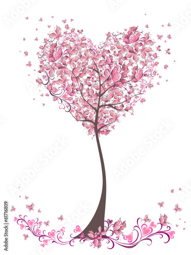 Tree of love with leaves from heart shape. Weddings card