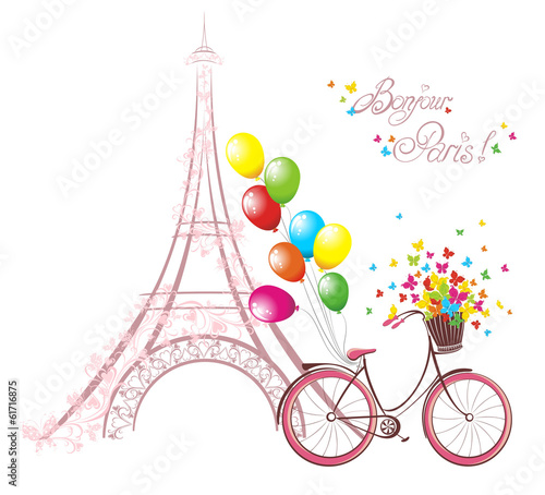 Eiffel tower and bicycle. Romantic postcard from Paris.