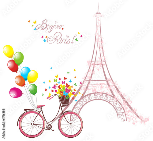 Eiffel tower and bicycle. Romantic postcard from Paris. - 61716884