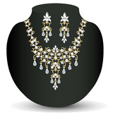necklace and earrings, wedding womens diamond